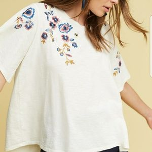Anthropologie fluttered thistle tee